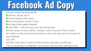 Get Motivated Seller Real Estate Leads Through Facebook - Facebook Ad Copy